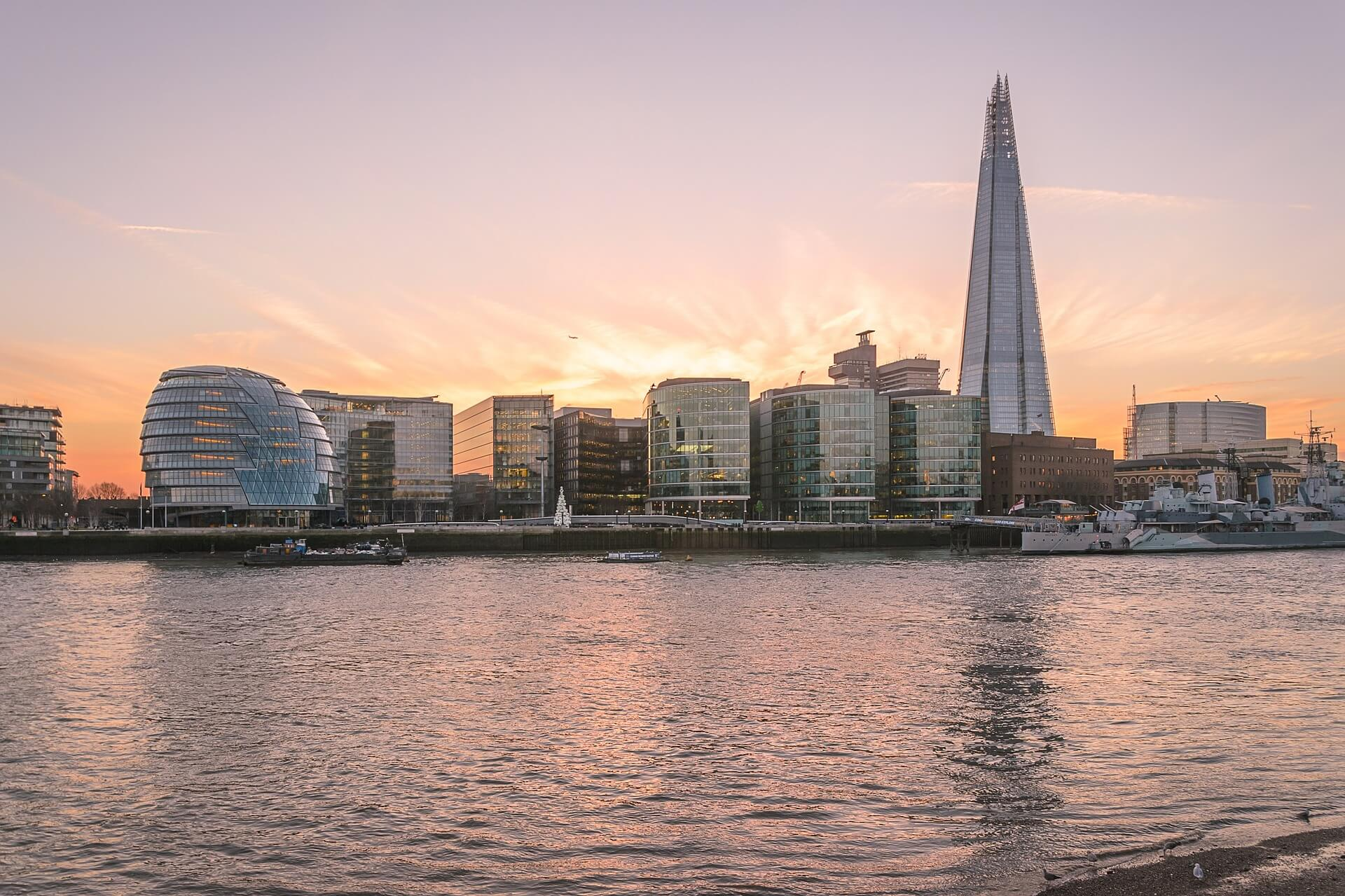 London Skyline at sunset from the waters edge